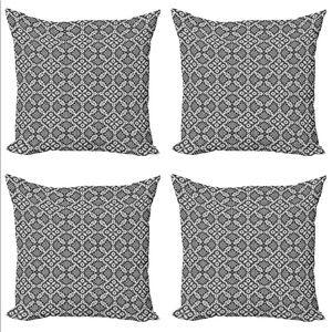 "Set of 4 Decorative Throw Zip Pillow Case Gray 18"""